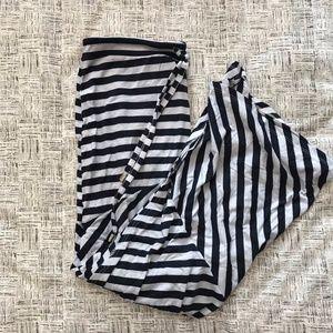 Seven7 Blue and White Stripped Slit Maxi Skirt